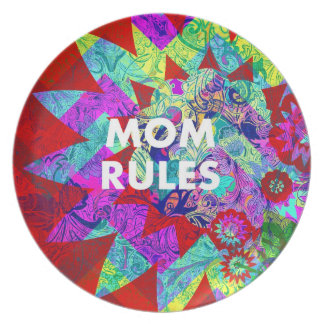 MOM RULES Colorful Floral Mothers Day gifts Party Plates