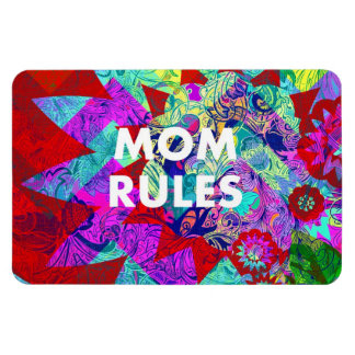 MOM RULES Colorful Floral Mothers Day gifts Rectangular Photo Magnet