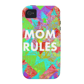 MOM RULES Colorful Floral Mothers Day Gifts teal Vibe iPhone 4 Case