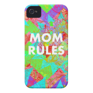 MOM RULES Colorful Floral Mothers Day Gifts teal iPhone 4 Case-Mate Cases