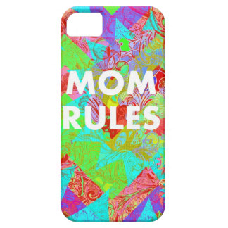 MOM RULES Colorful Floral Mothers Day Gifts teal iPhone 5 Cases