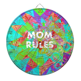 MOM RULES Colorful Floral Mothers Day Gifts teal Dart Board