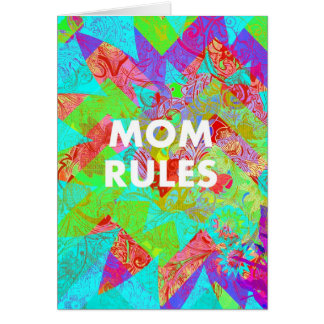 MOM RULES Colorful Floral Mothers Day Gifts teal Greeting Card