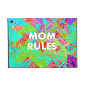 MOM RULES Colorful Floral Mothers Day gifts teal Cover For iPad Mini