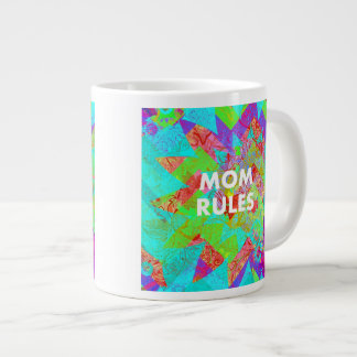 MOM RULES Colorful Floral Mothers Day gifts teal Jumbo Mug