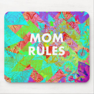 MOM RULES Colorful Floral Mothers Day Gifts teal Mouse Pads