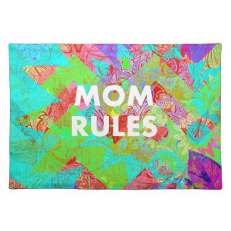 MOM RULES Colorful Floral Mothers Day Gifts teal Place Mats