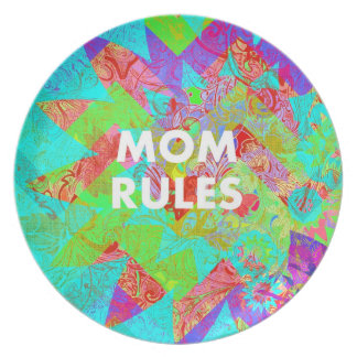 MOM RULES Colorful Floral Mothers Day Gifts teal Plate