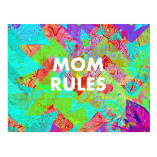 MOM RULES Colorful Floral Mothers Day Gifts teal Postcard