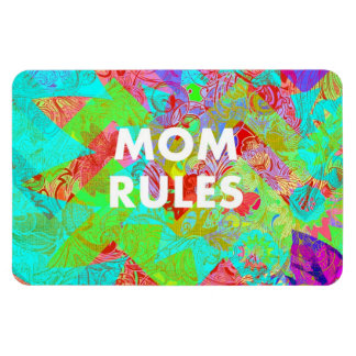 MOM RULES Colorful Floral Mothers Day Gifts teal Rectangular Photo Magnet
