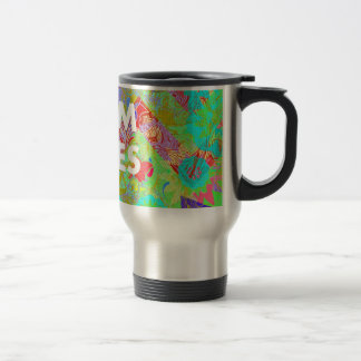 MOM RULES Colorful Floral Mothers Day Gifts teal Stainless Steel Travel Mug