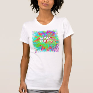 MOM RULES Colorful Floral Mothers Day gifts teal Tshirts