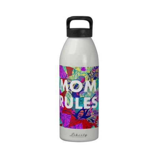 MOM RULES Colorful Floral Mothers Day gifts Drinking Bottle