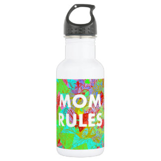 MOM RULES Colorful Floral Mothers Day teal 532 Ml Water Bottle