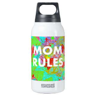 MOM RULES Colorful Floral Mothers Day teal 10 Oz Insulated SIGG Thermos Water Bottle