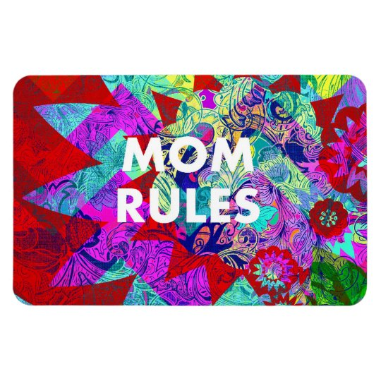 MOM RULES Colourful Floral Mothers Day gifts Magnet