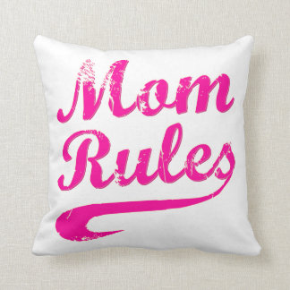 Mom Rules Funny Throw Pillow Cushion