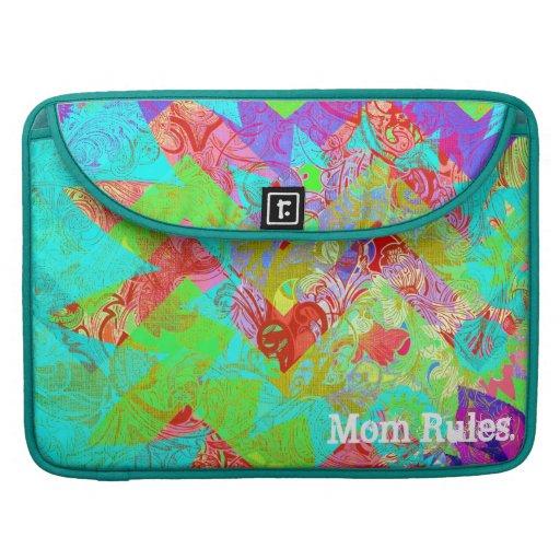 Mom Rules Vibrant Abstract Teal MacBook Sleeve MacBook Pro Sleeves