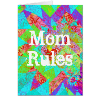 Mom Rules Vibrant Teal Abstract Mothers Day Card