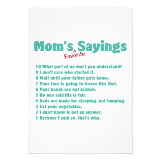 Mom s favorite sayings on gifts for her custom invitation