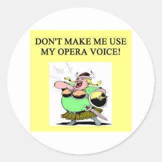 mom;s opera voice round sticker