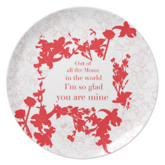 Mom´s plate red floral with message