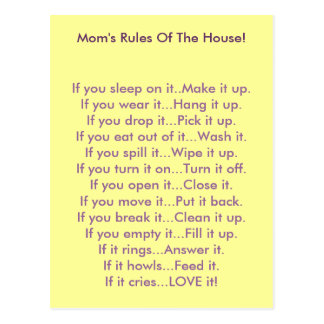 Mom s Rules Of The House Post Card