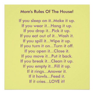 Mom s Rules Of The House Poster