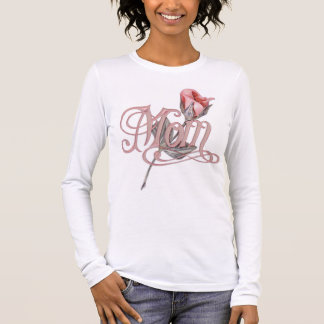 Mom Script and Rose Long Sleeve T-Shirt
