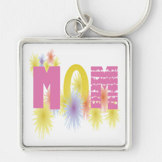 Mom Silver-Colored Square Key Ring