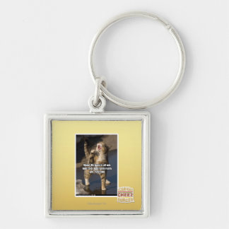 Mom! Silver-Colored Square Key Ring