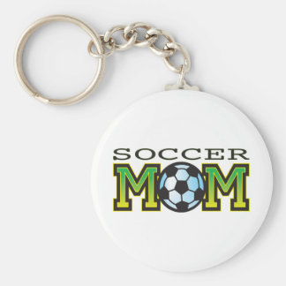 Mom Soccer Basic Round Button Key Ring