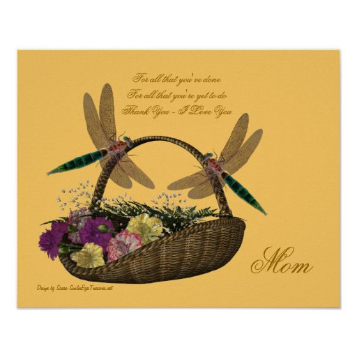 Mom Thank You Love Dragonflies Flower Poster Print