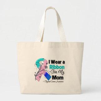 Mom - Thyroid Cancer Ribbon Jumbo Tote Bag