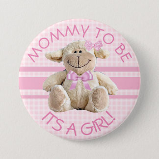 Mom to be Lamb Baby Shower Button