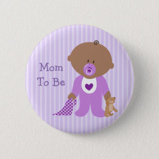 Mom to Be Purple Baby Shower Button