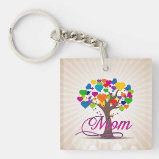 Mom Tree of Life Hearts Double-Sided Square Acrylic Key Ring