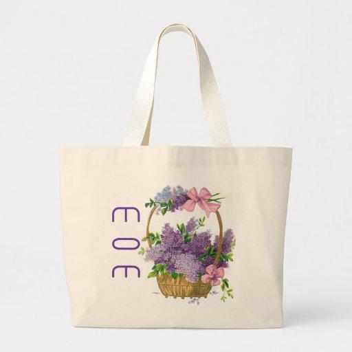 Mom Vintage Purple Lilacs Antique Flower Basket Canvas Bag