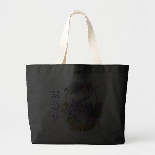 Mom Vintage Purple Lilacs Flower Basket Black Canvas Bags