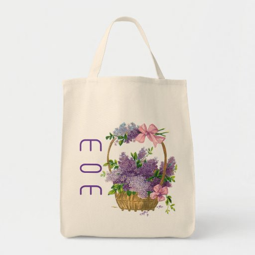 Mom Vintage Purple Lilacs Flower Basket Reusable Bags