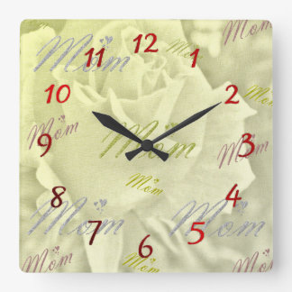 mom watches square wall clock