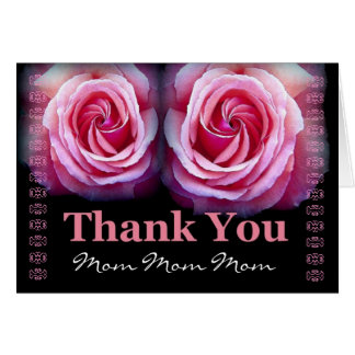 MOM - Wedding Thank You with Pink Roses and Lace Greeting Card