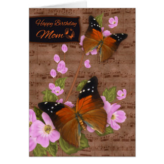 Mom, with Flipper Butterfly On Pink Apple Blossom Greeting Card