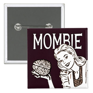 Mombie Retro Zombie 15 Cm Square Badge