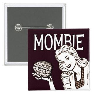 Mombie Retro Zombie 15 Cm Square Badge