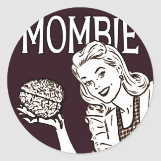 Mombie Retro Zombie Round Sticker