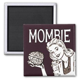 Mombie Retro Zombie Square Magnet