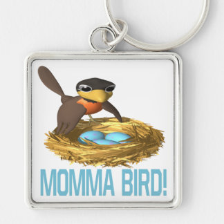 Momma Bird 6 Silver-Colored Square Key Ring