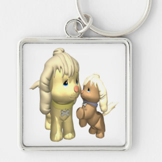 Momma Dog Silver-Colored Square Key Ring
