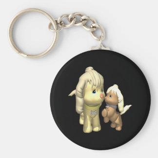 Momma Dog Basic Round Button Key Ring